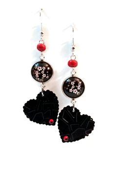 Boucles d'Oreilles Fleurs de Cerisier - Cabochon - Coeurs - Strass - Perles - Noires Rouges Blanches : Boucles d'oreille par cap-and-pap