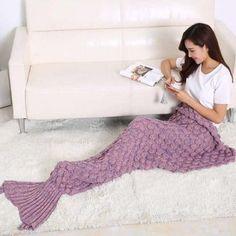 $25.85 Fashion 2016 Fish Scale Tail Shape Sleeping Bag Mermaid Design Knitting Blanket