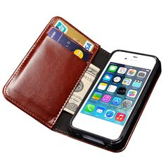 Wallet Flip Case For iPhone 4 4S Luxury Broncos PU Leather Cover With Card Holders Stand Coque For iPhone4 S i Phone Bag Black