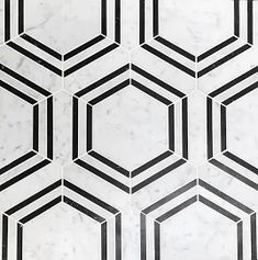 Carrara Venato Honed Hexagon Nero Strip Marble Mosaic Tile exclusively available from The Builder Depot. Hexagon Mosaic Tile, White Mosaic Tiles, Marble Mosaic, Honed Marble, Bathroom Floor Tiles, Tile Floor, Wall Tile, Black And White Marble, Flooring