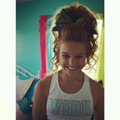 Emilee Clark cheer hair! She's on Desert Storm Elite Rage and wearing Allstar Cheer Bling :) || instagram: @allstarcheerbling Order the sports bra at www.allstarcheerbling.com