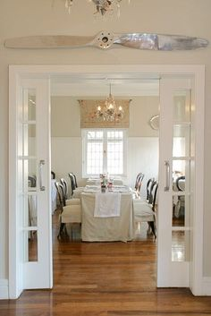 pocket doors between a living and dinning room | small home