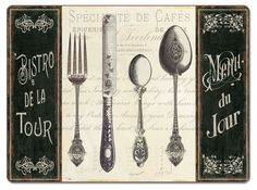 4 Cork backed Hardboard Placemats Knife/Fork French Menu