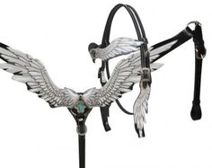 Showman BLACK Angel Wing Leather Headstall & Breast Collar Set! NEW HORSE TACK!   | eBay