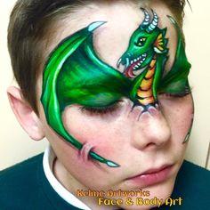 3D dragon face paint - artist : Kel Mcilwain  www.facebook.com/kelmcartworks1