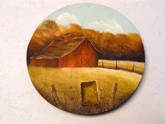 Decorative Hand Painted Cast Iron Stove Burner Cover Folk Art Farm Landscape