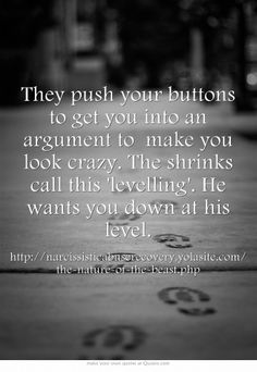 They push your buttons to get you into an argument to make you look crazy. The shrinks call this 'levelling'. He wants you down at his level.