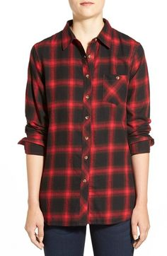 Sandra Plaid Side Button Detail Tunic available at #Nordstrom