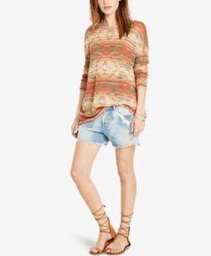 Denim & Supply Ralph Lauren Southwestern-Print Boat Neck Sweater (47.99) 20%off thru 8/28/16 ramie/viscose/cotton/nylon green/multi 27L szS 59.99