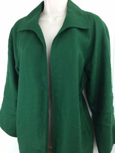 Talbots Woman X Pure Irish Linen Jacket Pockets Open Front Green Blazer 12W L XL #Talbots #BasicJacket