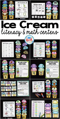 Make language arts and math fun with this themed Ice Cream Literacy and Math Centers bundle that is perfect for your lower elementary aged children. Use these fun language arts summer themed worksheet Kindergarten Centers, Math Centers, Preschool Kindergarten, Kindergarten Reading, Preschool Games, Preschool Learning, Early Math, Early Literacy, Fun Math