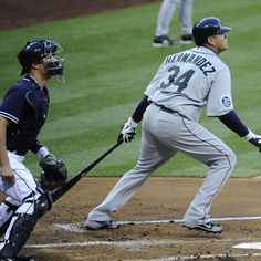 SAN DIEGO, CA - JUNE 23: Felix Hernandez #34 of the Seattle Mariners hits an RBI double during the second inning of an interleague baseball game against the San Diego Padres at Petco Park on June 23, 2012 in San Diego, California. (Photo by Denis Poroy/Getty Images)