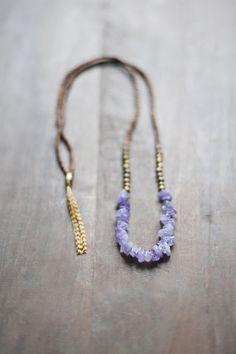 Mischtechnik Boho Kette / leichte lila Halskette / von BlueBirdLab