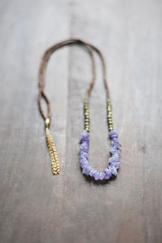 Mixed Media Boho Necklace /  Light Purple Necklace by BlueBirdLab