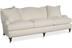 """Lee Industries sofa with turned leg, tight back; 3278-03. 87"""" long x 42"""" deep x 34"""" high. Inside: 75"""" long, 27"""" deep, 20"""" high. Seat Height: 18"""".  Arm Height: 21"""". Back Rail Height: 34"""", around $2,500 to $3,000."""