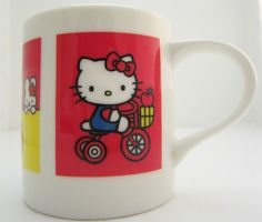 Hello Kitty Sanrio Smiles Tricycle Apple Four Pictures Porcelain Cup Mug