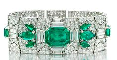 An Art Deco Colombian emerald and diamond bracelet by Cartier, circa 1929. fd-inspired