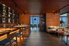 "Tasca and Netsu Restaurants at the Mandarin Oriental Jumeira, Dubai - dpa lighting consultants - ""Right Light, Right Place, Right Time"" ™ #dpalighting #lightingdesign #restaurantlighting #barlighting #pendants #concealedlight #backlit #banquettelighting #spotlights #tracklighting #displaylighting #downlights"