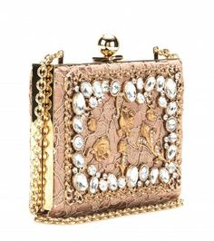 Dolce & Gabbana crystal embellished lace box clutch.