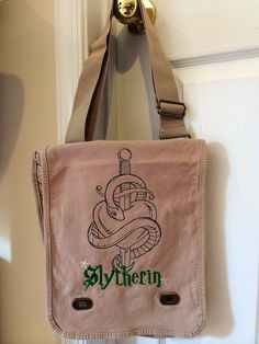 Harry Potter messenger bag Slytherin by OffTheHookbyLora on Etsy, $29.99