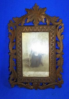 Vintage German Folk Art Wood Carved Picture Frame #M1