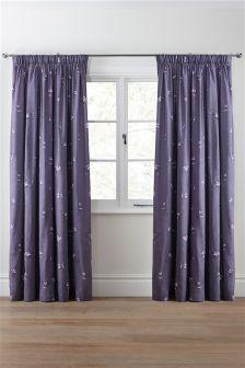 Mauve Floral Cotton Sateen Print Pencil Pleat Curtains
