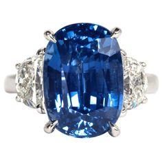 Certified Natural No Heat 11.51 carat Cushion cut Sapphire and Diamond Ring | 1stdibs.com