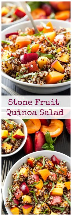 Plums, peaches, nectarines, apricots, and basil mixed with quinoa take your average fruit salad to a whole new level. Toss the salad in a honey lime dressing for a healthy summer side dish! // @RecipeRunner // vegan, gluten free