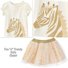 NWT Gymboree SAVANNA PARTY Girls Size 2T 3T Zebra Tulle Skirt Tee Shirt 2-PC SET #Gymboree #DressyEverydayHoliday