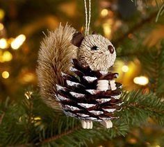 Pine Cone Christmas Decoration Instructions | Pottery Barn pinecone critter ornament collection includes a penguin ...