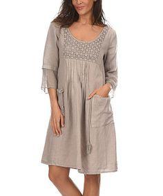 Look at this #zulilyfind! Taupe Macramé Sheer-Back Linen Empire-Waist Dress #zulilyfinds