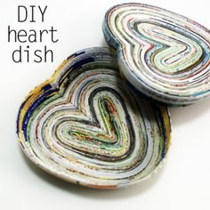 DIY project: How to make heart-shaped, lidded vessels (dishes?) from magazine pages. Link goes to a good paper-coiling tutorial.