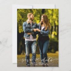 Modern Hand Lettered Photo Save The Date