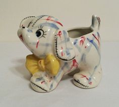 Ceramic Puppy Dog Planter Red Blue Plaid Gingham by AtomicPhenomic