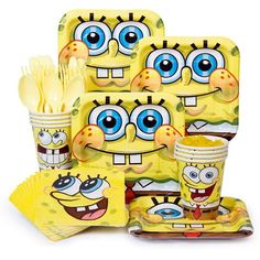 Check out SpongeBob Birthday Party Standard Tableware Kit Serves 8- BirthdayInaBox.com from Birthday In A Box
