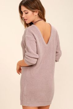 The Bringing Sexy Back Mauve Backless Sweater Dress brings a little edge to those chilly days by the fire! A rounded neckline and long sleeves bring all your favorite sweater elements to this dress, with a relaxed shape and deep V-back. Tight Dresses, Casual Dresses, Sweater Dresses, Backless Dresses, Short Dresses, Lulus Clothing, Sexy Back, Backless Sweater, Malva