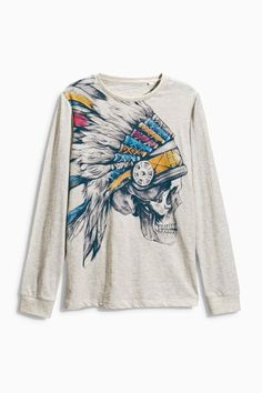 Buy Skull With Head Dress Printed T-Shirt (3-16yrs) from the Next UK online shop