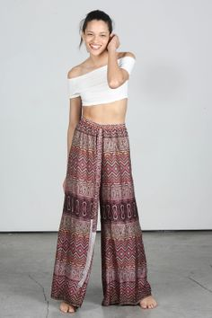 #Alexis Purple Patterned High Waisted Wide Leg Silk Pants -- found on BIBANDTUCK.COM #Flow
