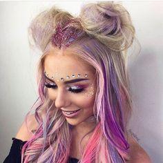 ♡ ᒪOᑌIᔕE ♡ Glitter Makeup, Purple Makeup, Glitter Face, Glitter Dress, Glitter Eyeshadow, Pastel Hair, Pink Hair, Blonde Hair, Bh Cosmetics