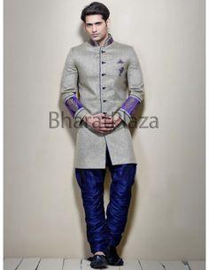 Laudable Grey Indo Western Sherwani. http://www.bharatplaza.com/mens-wear/sherwanis/indo-western-sherwani.html