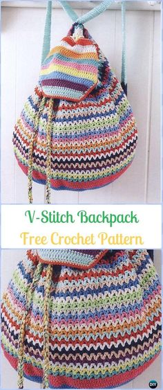 Crochet V-stitch Backpack Free Pattern -Crochet Backpack Free Patterns Adult Version