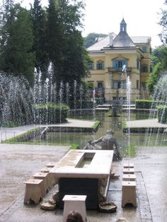 Hellbrunn Palace, Salzburg.  400 year old trick waterworks throughout the grounds - water comes up from the seats around dining table, etc :)