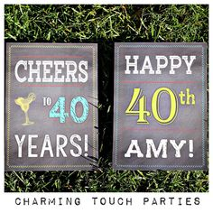 40th Birthday Signs by Charming Touch by CharmingTouchParties