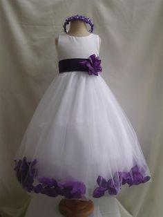 White Purple Wedding Bridesmaid Infant Toddler Pageant Dancing Flower Girl Dress | eBay