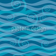Triton Aqua by Maja Tomazic available as a vector file on patterndesigns.com Surface Pattern Design, Vector File, Aqua, Waves, Curling, Inspiration, Hawaiian, Tropical, Patterns
