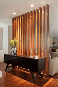 45 Brilliant Partition Wall Design Ideas To Blow You Away - Engineering Discoveries Living Room Divider, Home Living Room, Living Room Designs, Living Area, Living Room Partition Design, Room Partition Wall, Room Partitions, Partition Ideas, Room Partition Designs