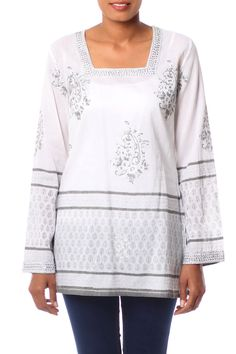 527f48050e1 Silver Glamour Top White Tunic with Silver Block Print   Sequins Designed  in India by Vijay