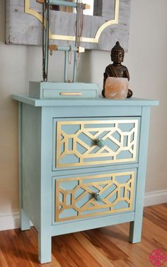 Gold Cheryle O'verlays on the Ikea Hemnes nightstand painted robin's egg blue is  | Complete your bedroom with nightstands and bedside tables that offer a convenient perch for a lamp, alarm clock and reading material. Flanking a shared bed with matching nightstands creates a balanced look. | www.bocadolobo.com #interiordesign #nightstandsideas#nightstand #masterbedroom #bedroom #homedecor