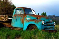 Old Teal Blue Chevy Truck - Big Art Print 30x40 - Vintage 1952 Chevrolet Truck - Antique Aqua Pickup - Turquoise Blue Farm Truck. $330.00, via Etsy.