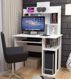 computer desk shelving on side and on the back white in colour keyboard